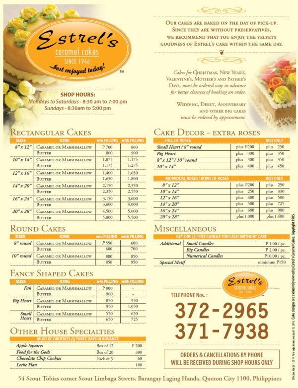Estrel's Price List