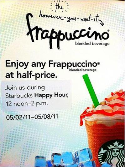 Starbucks Frappuccino Happy Hour